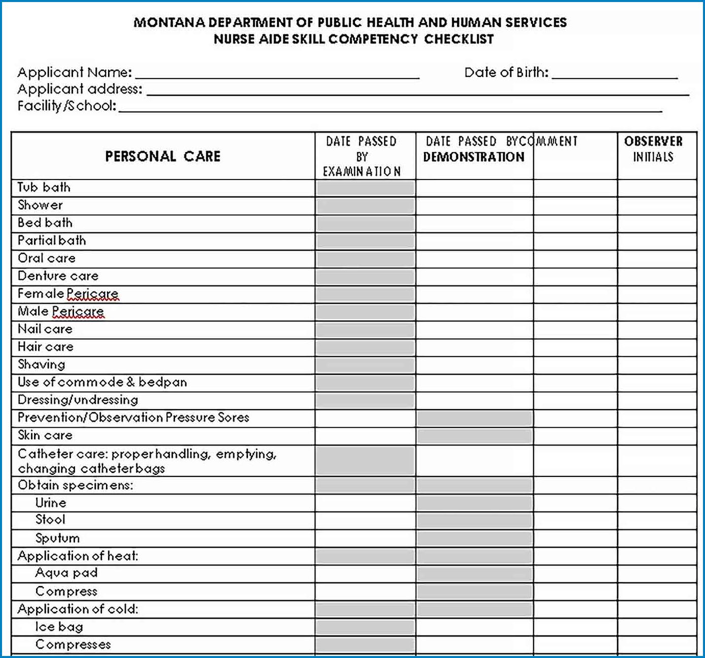 Nurse Skills Checklist Template Example