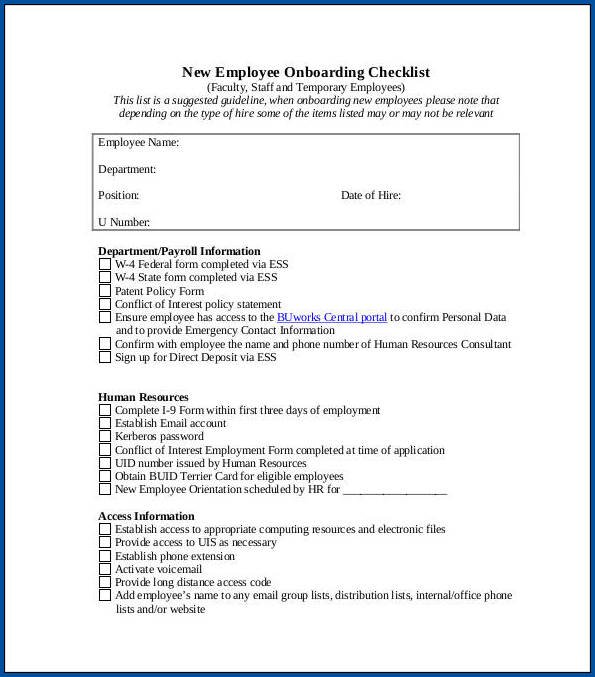Onboarding Checklist Template Example