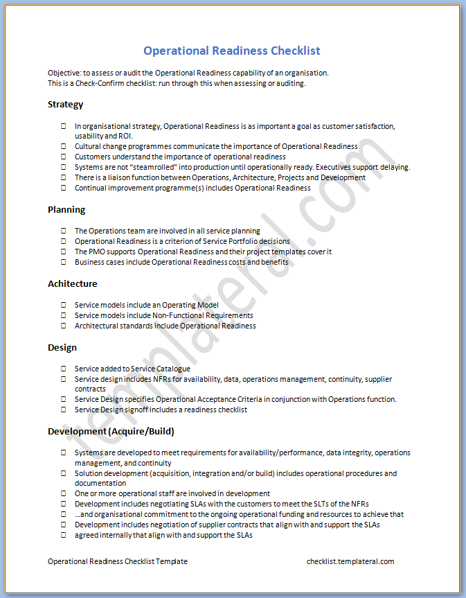 Free Printable Operational Readiness Checklist Template