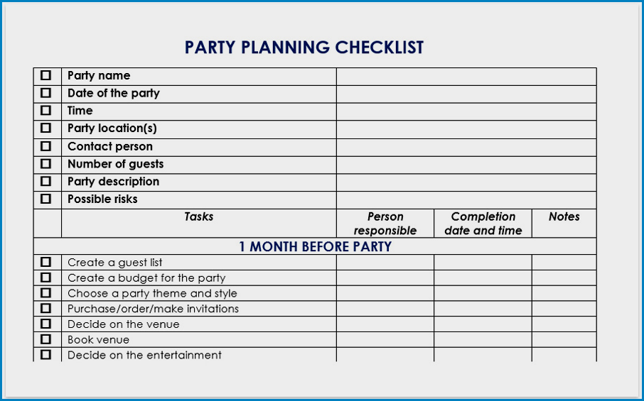 Party Checklist Template Example