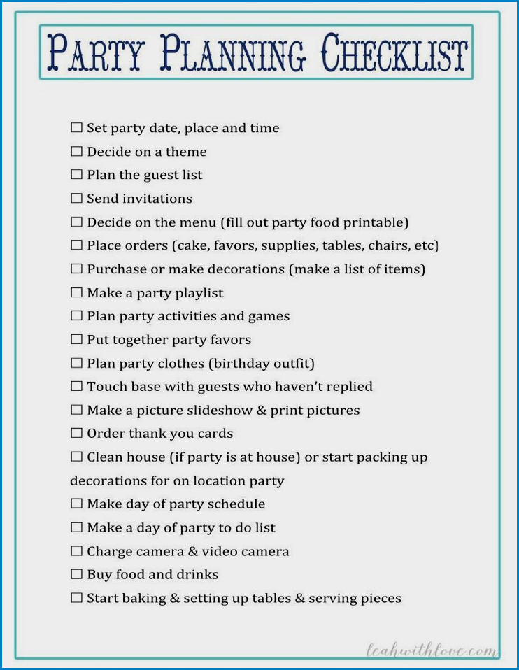 Party Checklist Template Sample