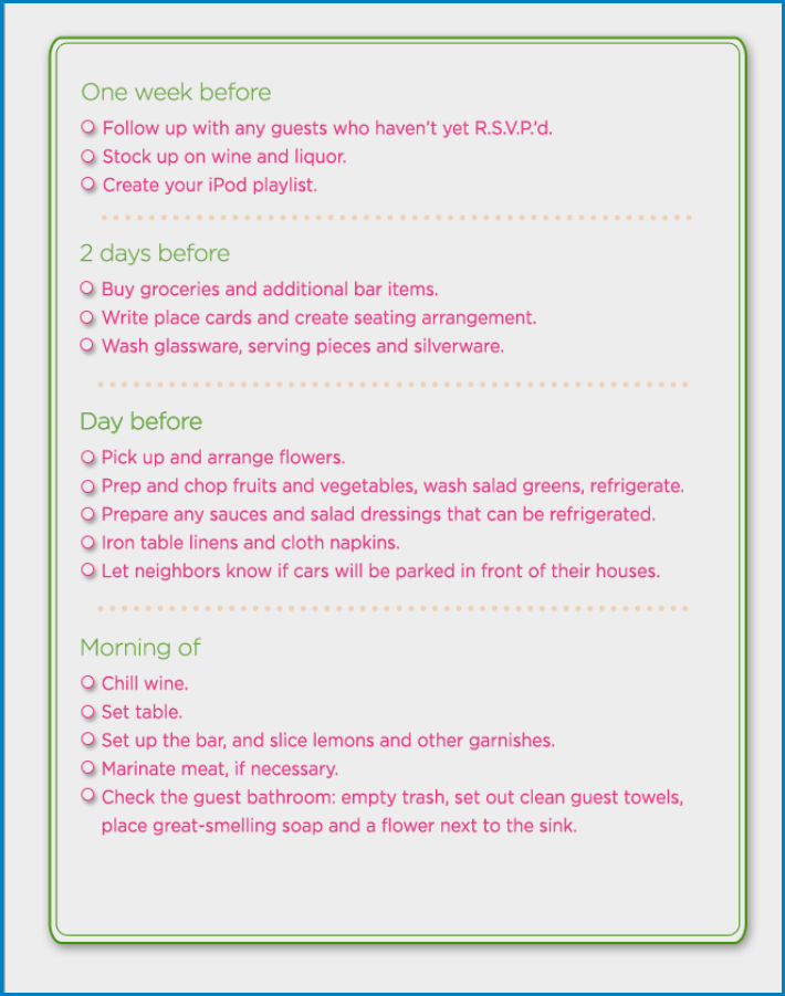 Free Printable Party Checklist Template