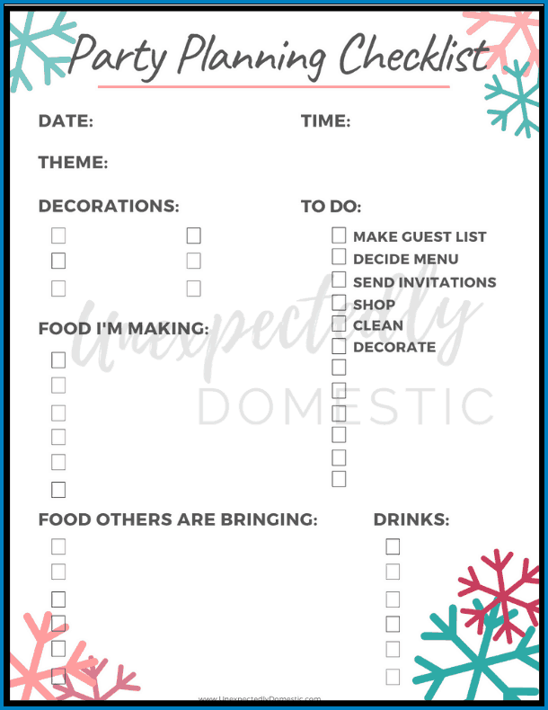 Party Planner Checklist Template Example