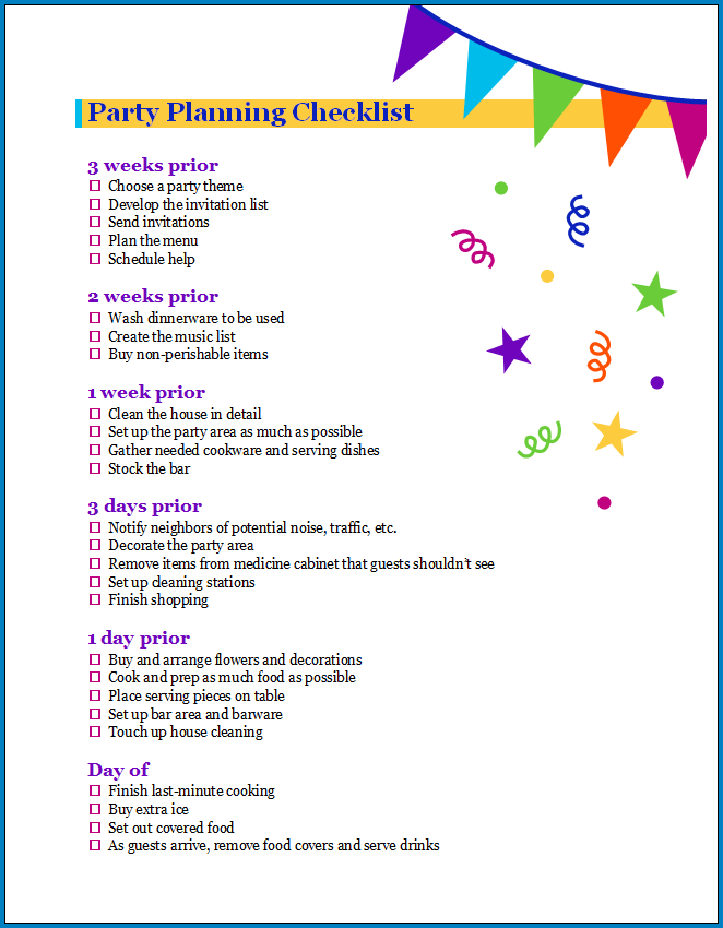 Free Printable Party Planner Checklist Template