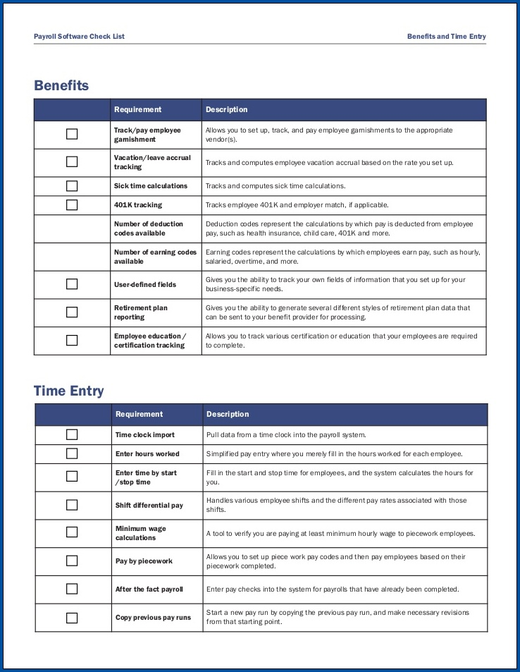 Payroll Checklist Template Example