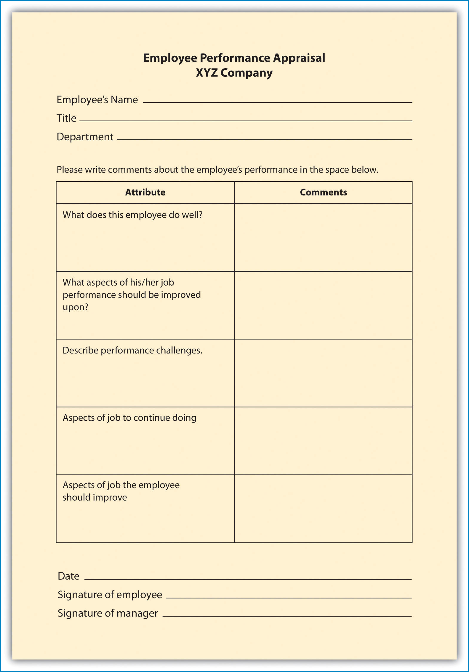 Performance Review Checklist Template Sample