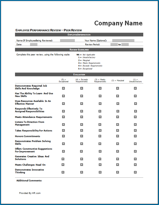 Free Printable Performance Review Checklist Template