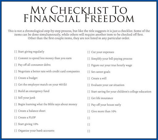 Personal Finance Checklist Template Example