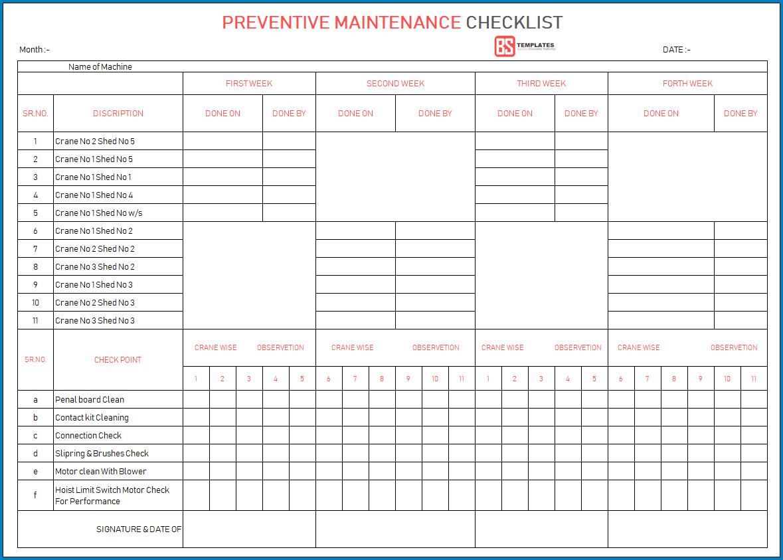 Preventative Maintenance Checklist Template Sample
