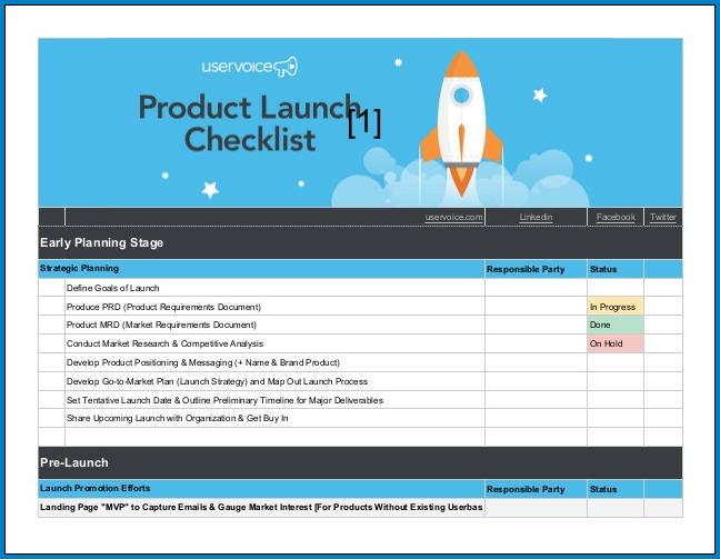 Product Launch Checklist Template Sample