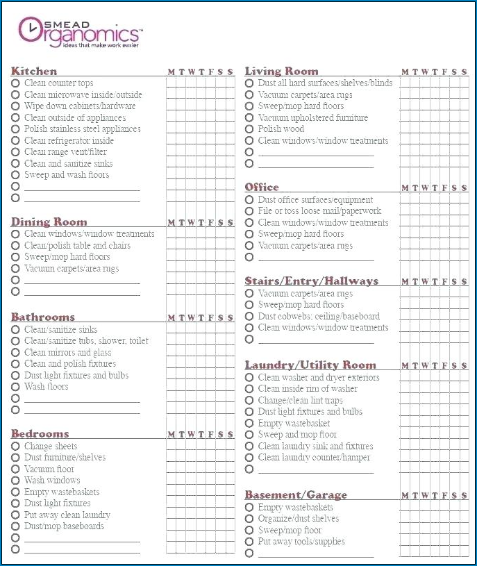 Professional House Cleaning Checklist Template Example