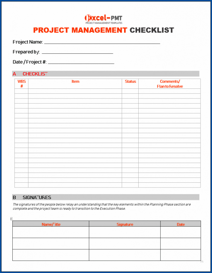Project Checklist Template Example