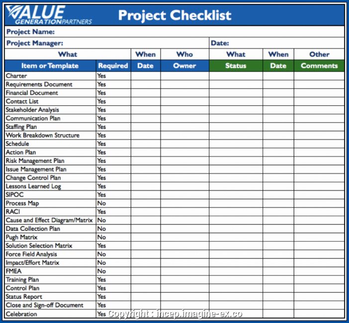 Project Checklist Template Sample