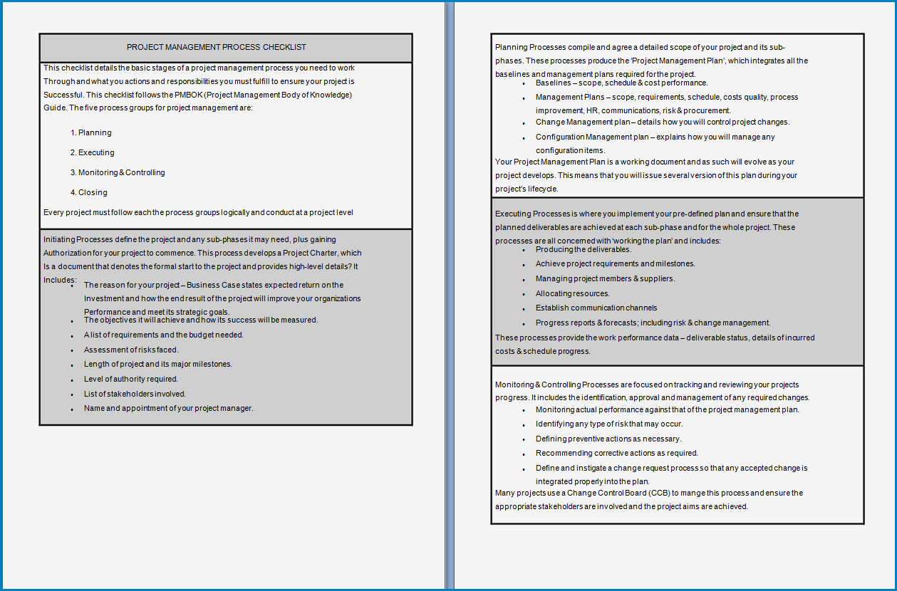 Free Printable Project Manager Checklist Template