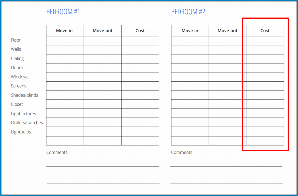 Property Management Inspection Checklist Template Sample