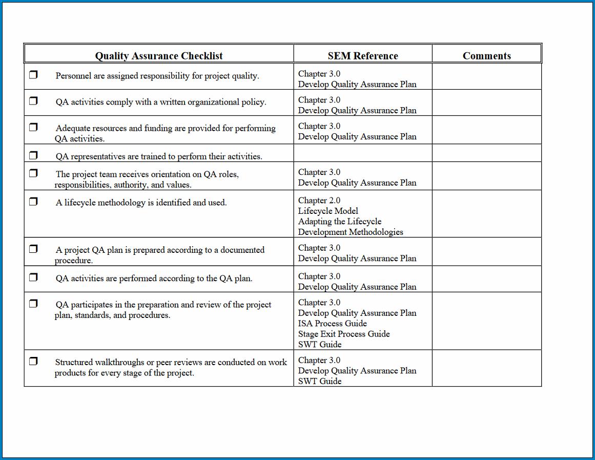 Free Printable Quality Assurance Checklist Template Checklist Templates