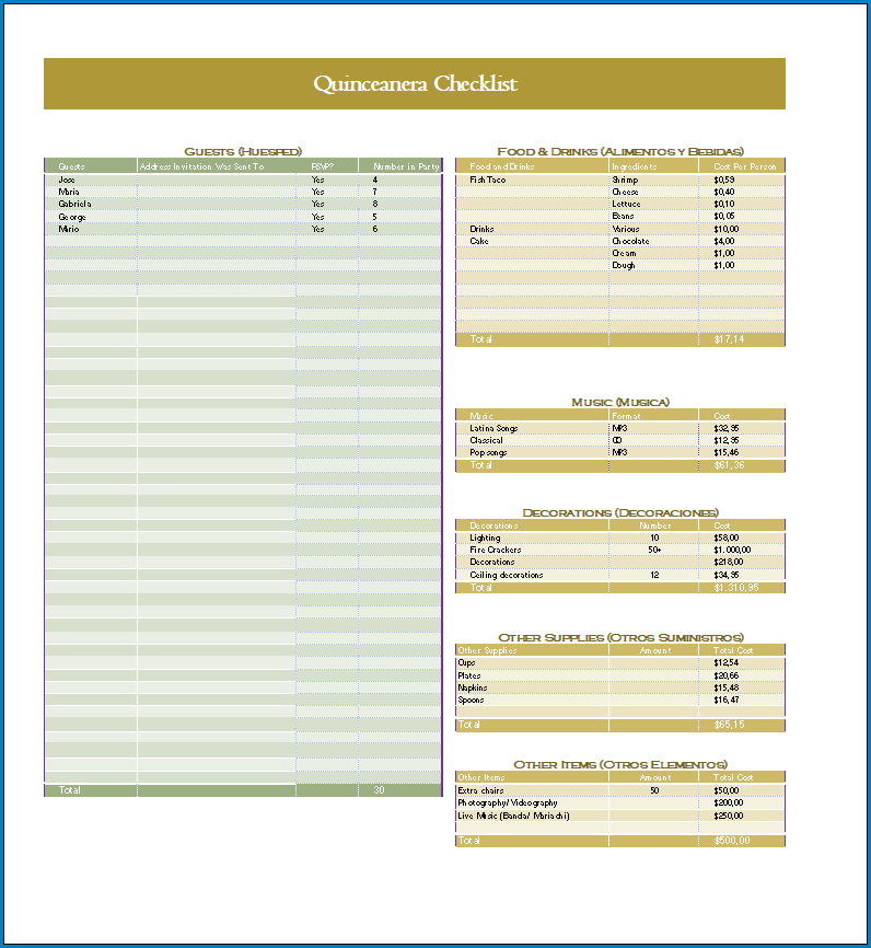 Free Printable Quinceanera Checklist Template