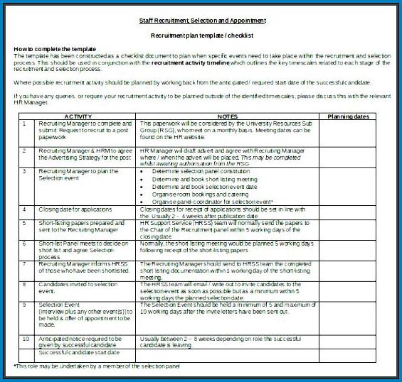 Recruiting Checklist Template Example