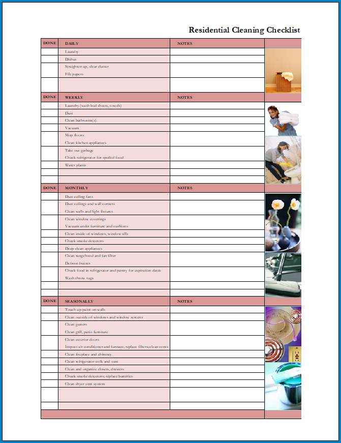Free Printable Residential Cleaning Checklist Template