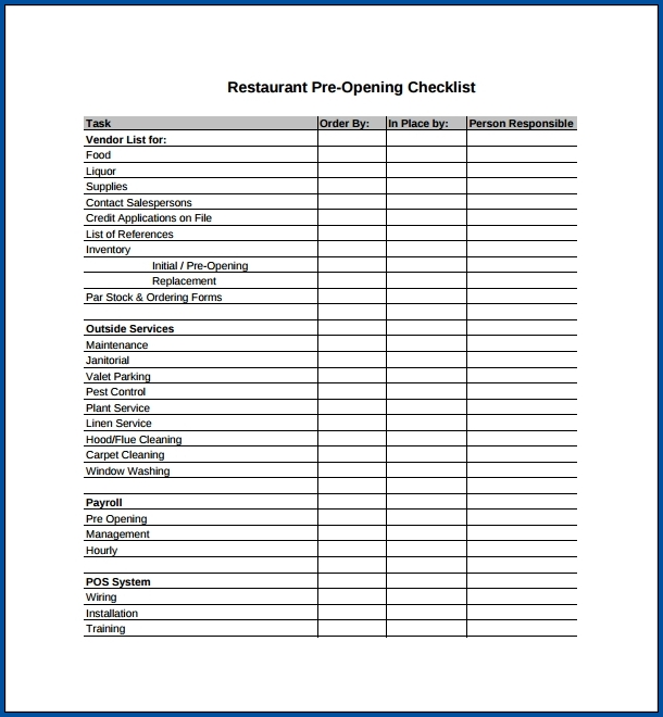 Restaurant Checklist Template Sample