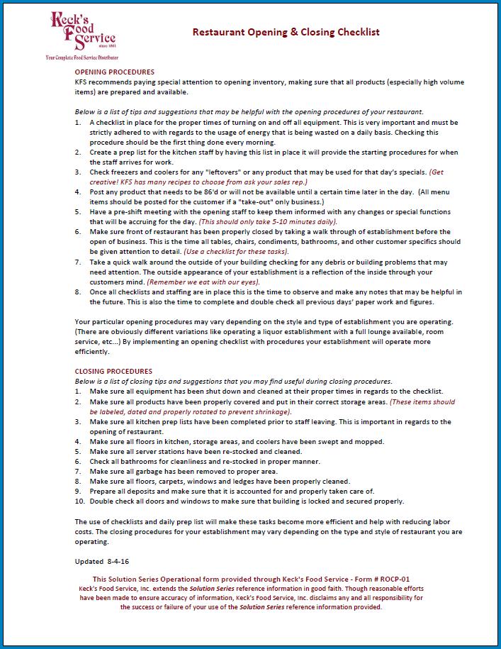 Free Printable Restaurant Closing Checklist Template