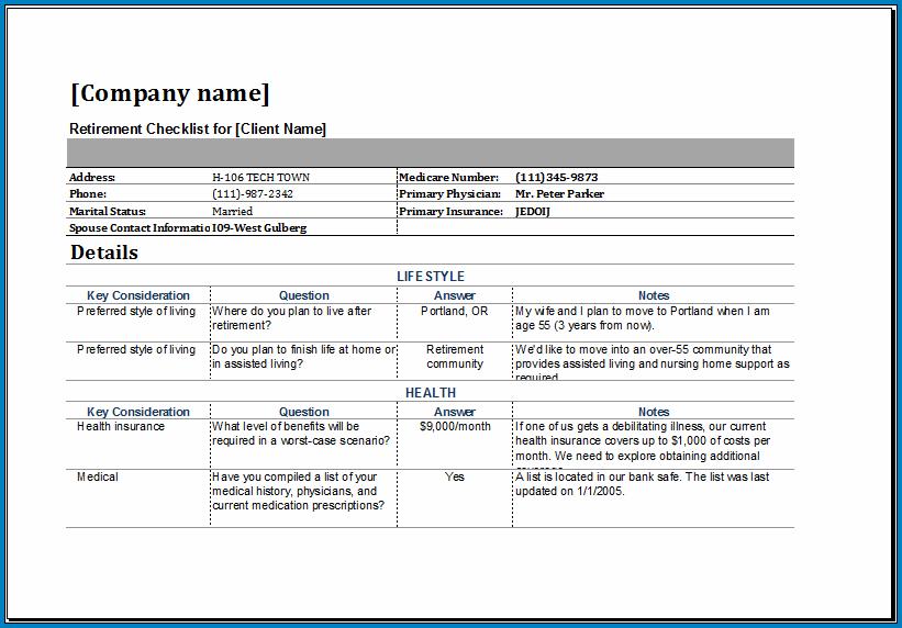 Retirement Checklist Template Sample