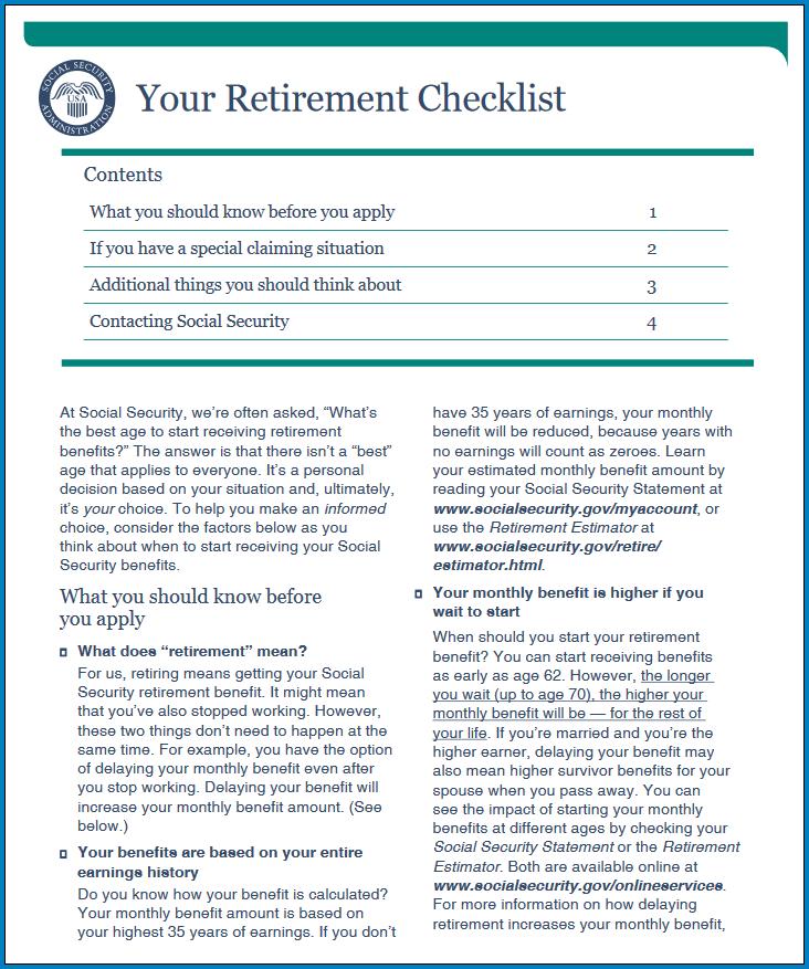Free Printable Retirement Checklist Template