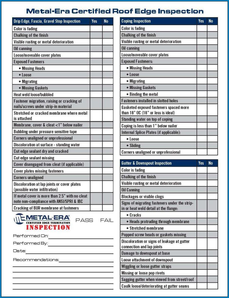 Roofing Checklist Template Sample