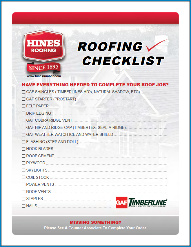 Free Printable Roofing Checklist Template