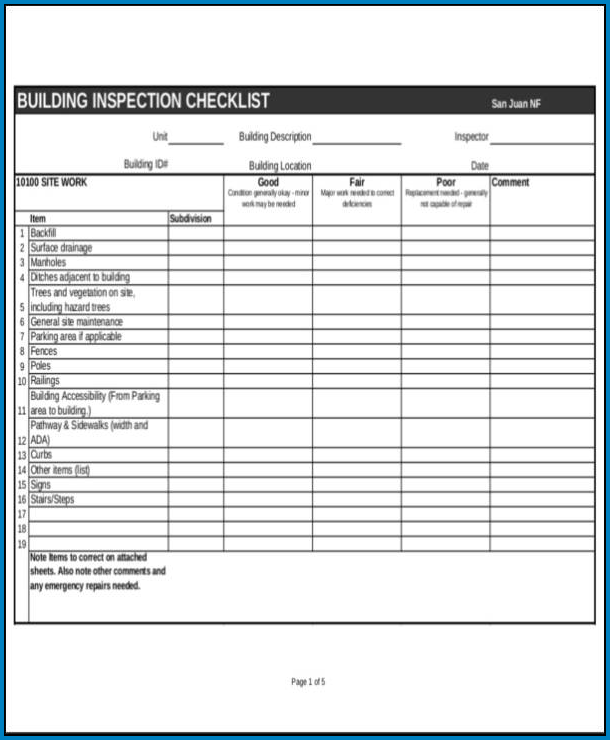 Sample of Building Checklist Template