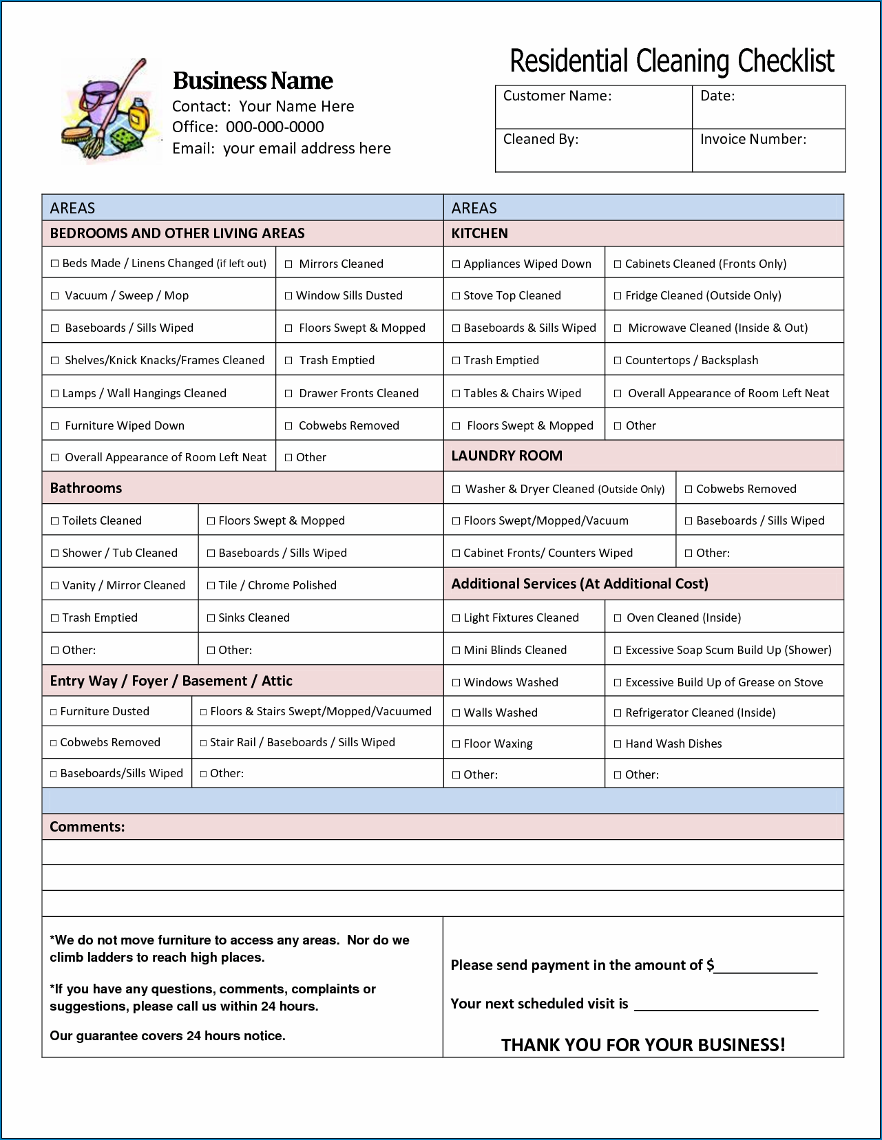 Sample of Cleaning Service Checklist Template