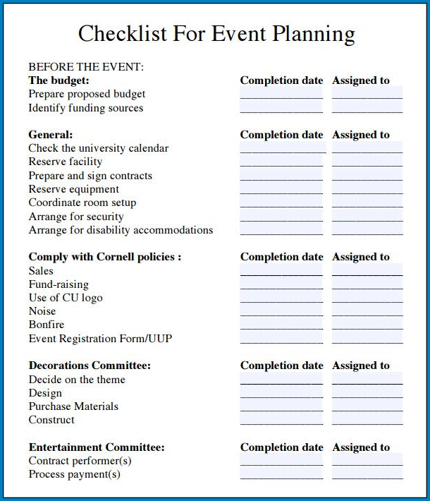 Sample of Corporate Event Planning Checklist Template