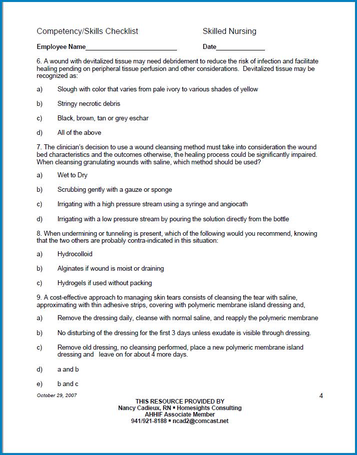 Sample of Nurse Skills Checklist Template