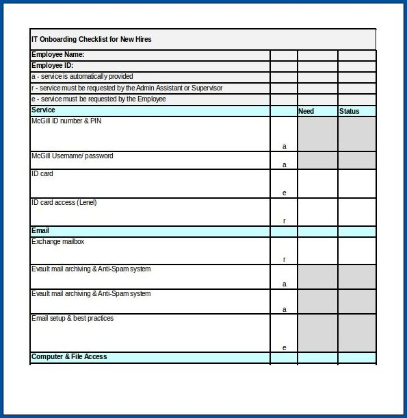 Sample of Onboarding Checklist Template