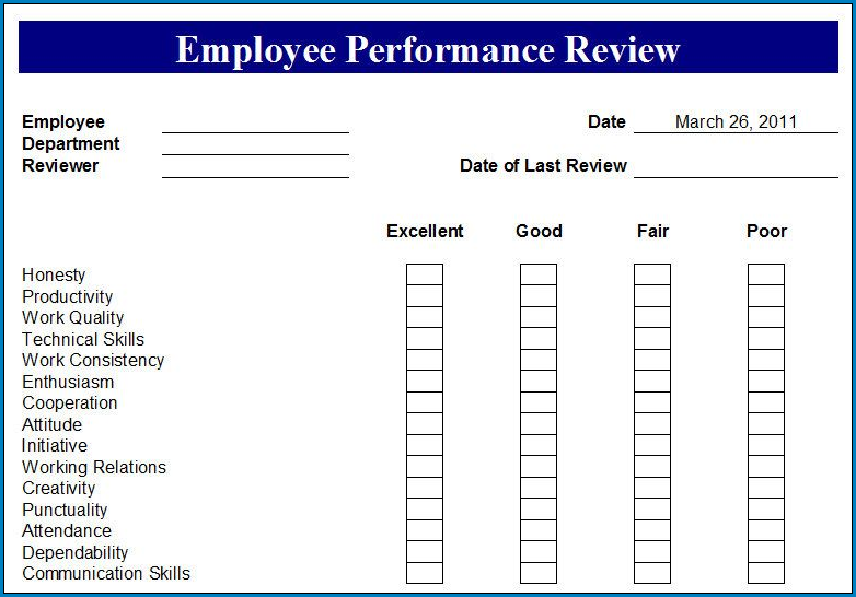 Sample of Performance Review Checklist Template