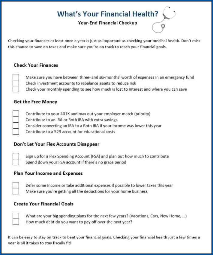 Sample of Personal Finance Checklist Template