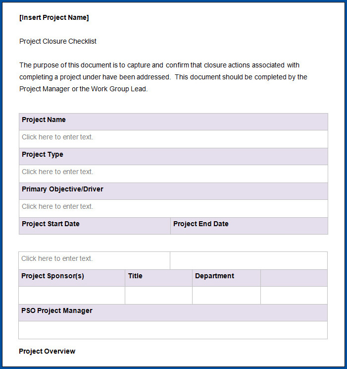 Sample of Project Checklist Template