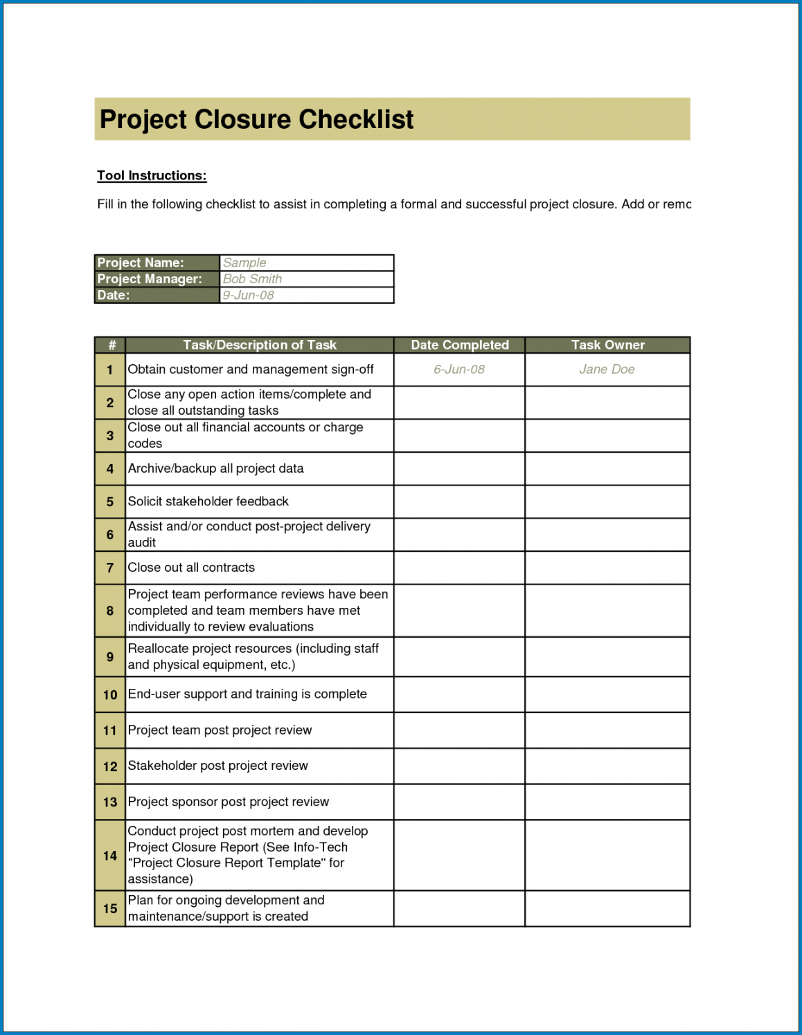Sample of Project Closeout Checklist Template