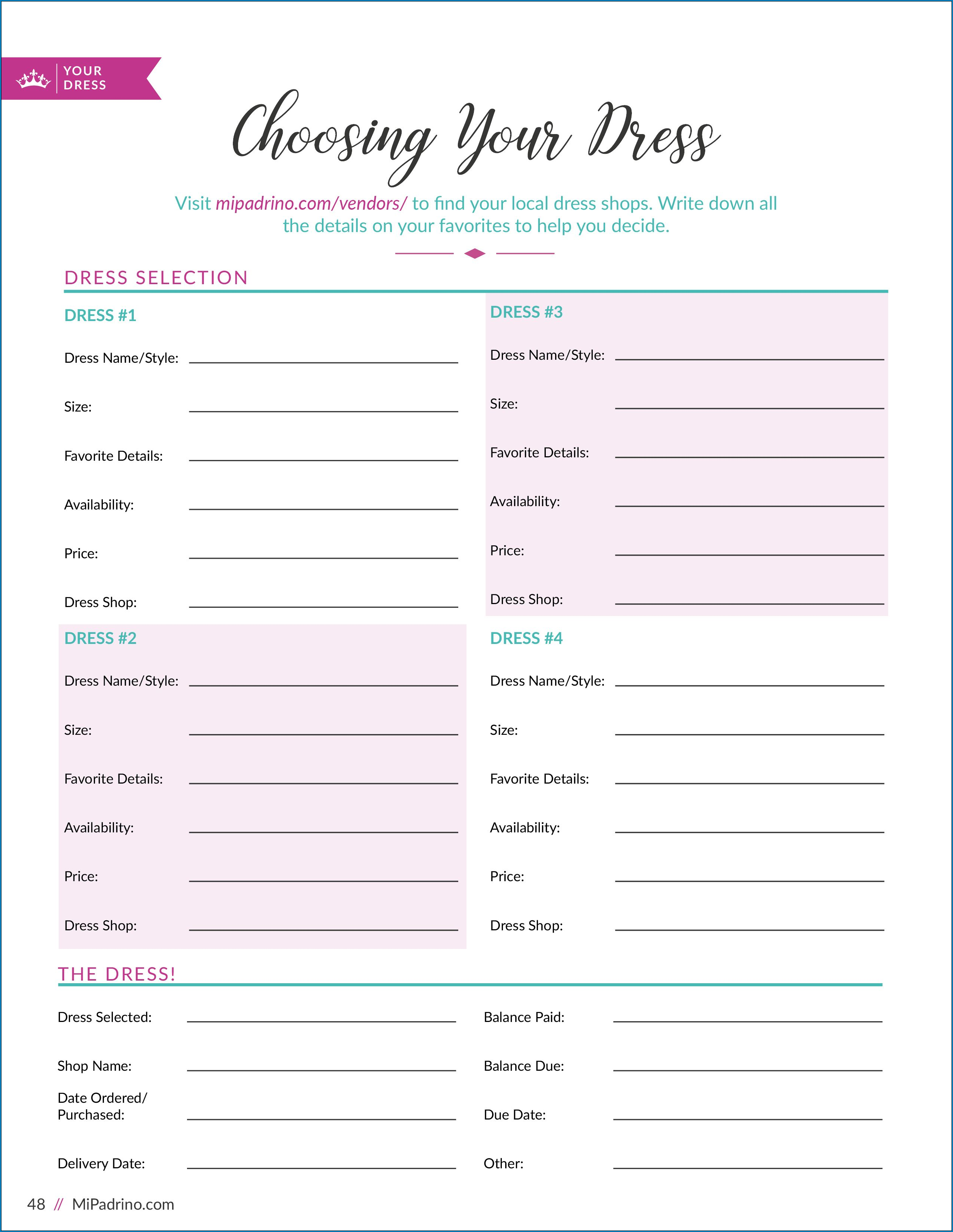 Sample of Quinceanera Checklist Template
