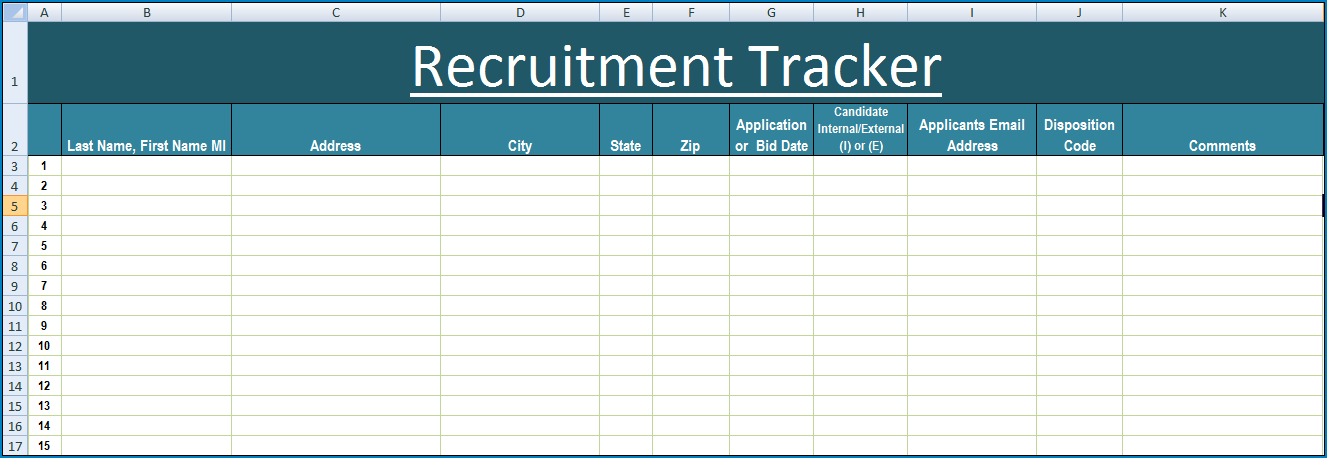 Sample of Recruitment Template Excel