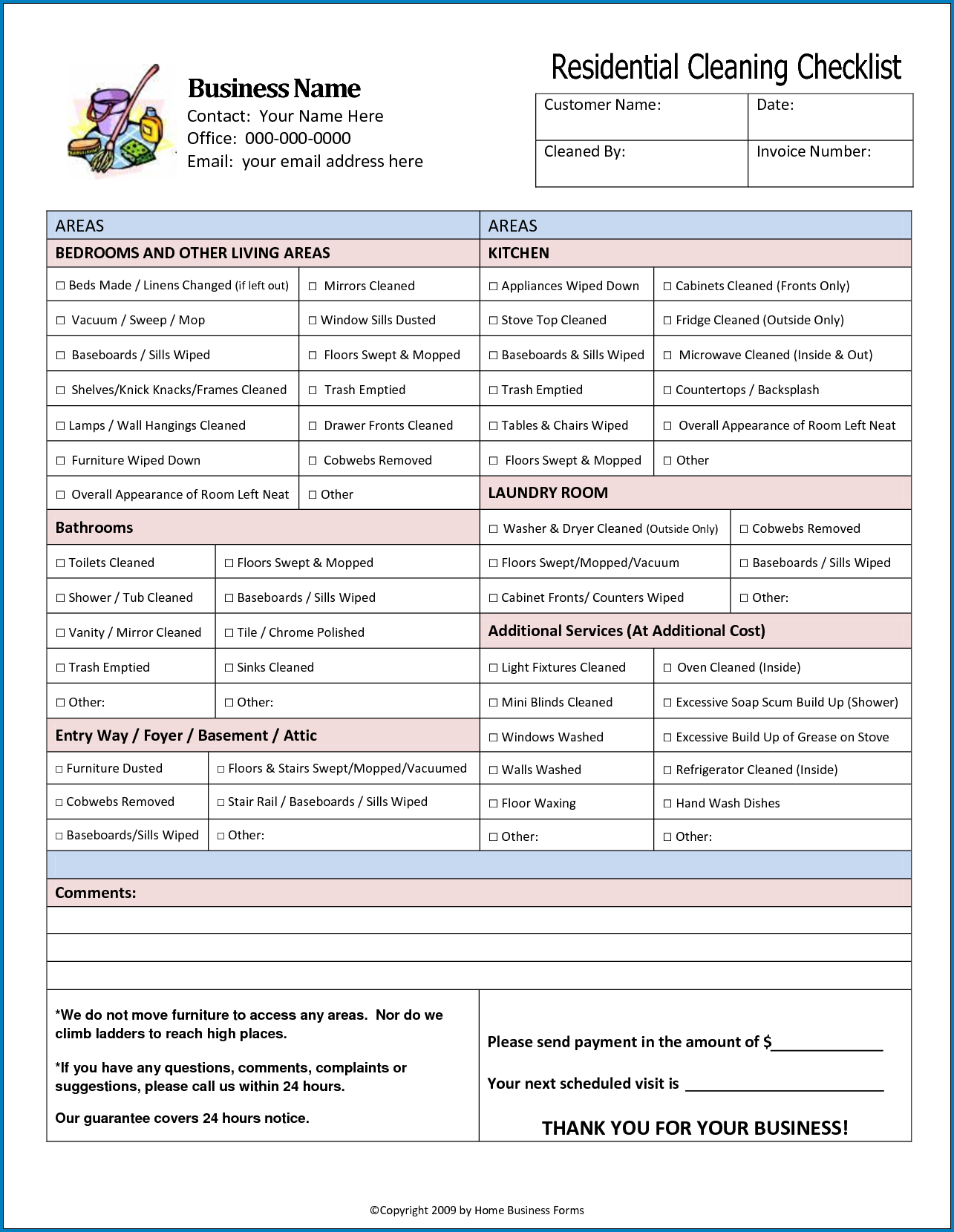 Sample of Residential Cleaning Checklist Template