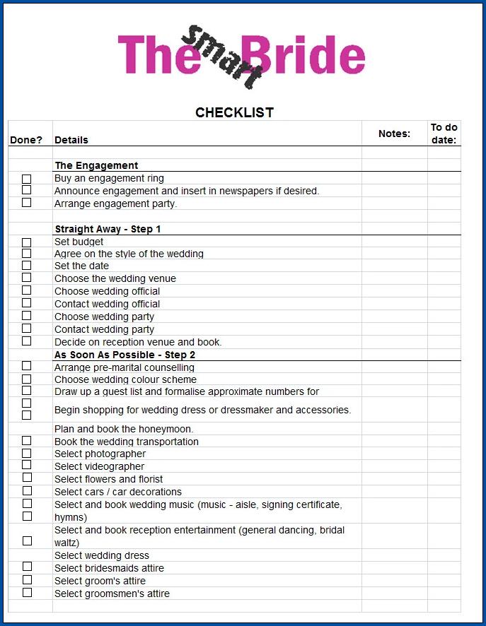 Sample of Wedding Checklist Template