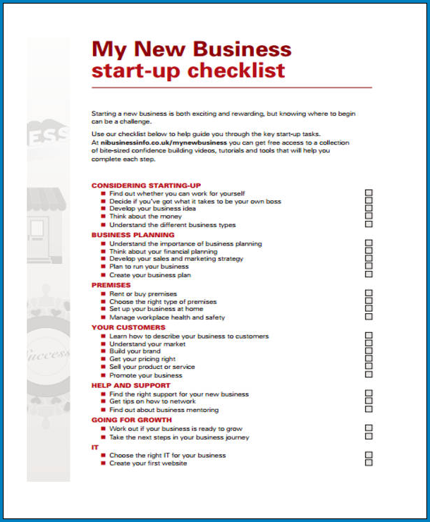 Startup Business Checklist Template Example