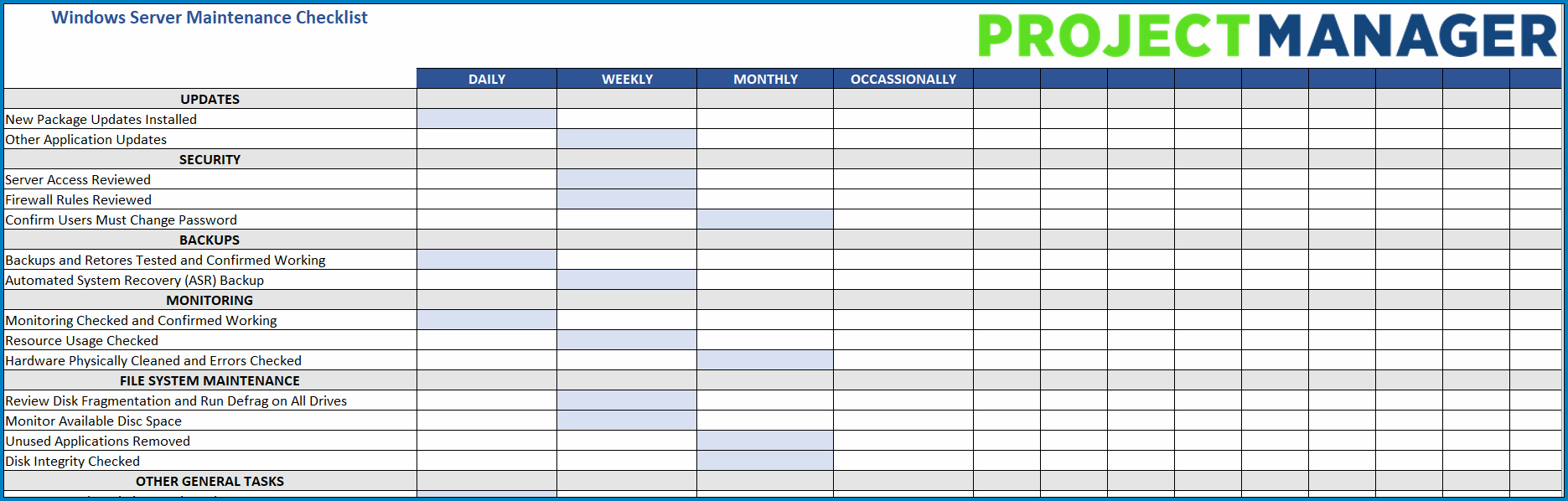 System Administrator Daily Checklist Template Sample