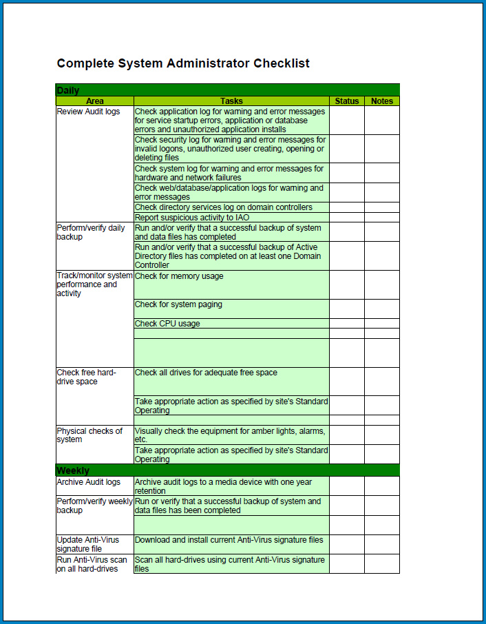 Free Printable System Administrator Daily Checklist Template