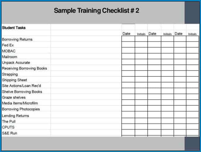 Trainer Checklist Template Example