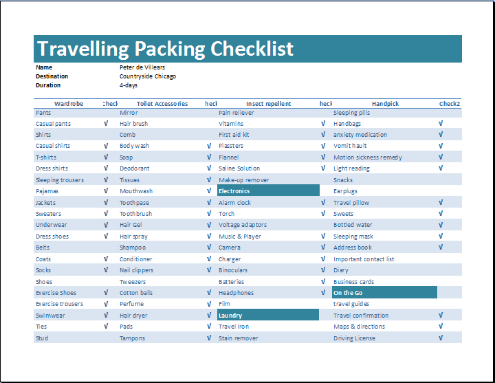 Traveling Checklist Template Example