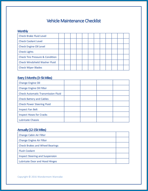 Truck Maintenance Checklist Template Example