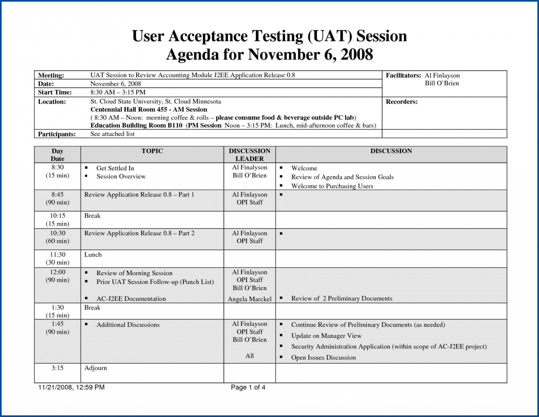 UAT Checklist Template Sample
