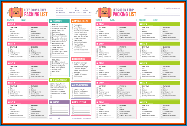 Vacation Checklist Template Sample